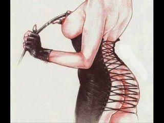 महिलाओं का दबदबा बुत कपड़े पहनने बीडीएसएम बंधन कला स्ट्रैपआन कॉमिक्स