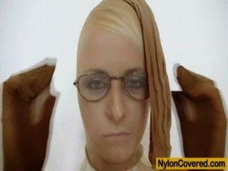 पतला गोरा बालों वाली नाइलन में पूर्ण