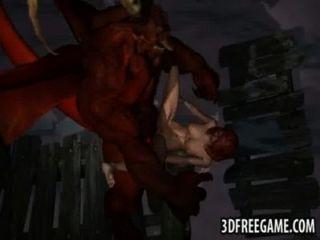 सेक्सी 3 डी रेड इंडियन एक पंखों वाला राक्षस द्वारा कठिन गड़बड़ हो जाता है