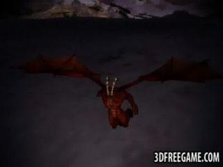 3 डी रेड इंडियन एक पंखों वाला राक्षस द्वारा कठिन गड़बड़ हो जाता है