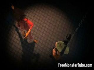 बंधे 3 डी कार्टून समलैंगिक बेब मार पड़ी हो रही है