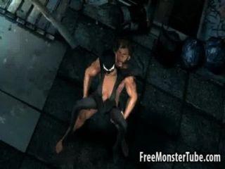 3 डी कैटवूमन Wolverine द्वारा सड़क पर गड़बड़ हो रही है