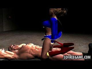 3 डी supergirl एक मांसल स्टड द्वारा गड़बड़ हो जाता है