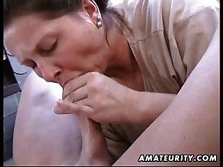 मोटा शौकिया पत्नी घर का बना blowjob और बकवास