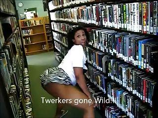 (LMFAO !!) आबनूस milf लूट पुस्तकालय में twerking - Ameman
