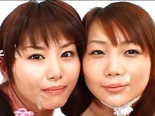 2 एशियाई लड़कियों bukkake