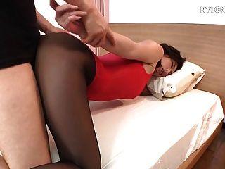 तेंदुआ नायलॉन pantyhose में मोजा सेक्स