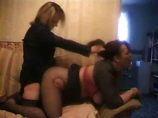 महिला-लड़की strapon बकवास, काट रहा है और साथ