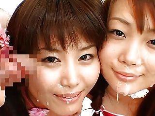 दो जापानी cuties bukkake