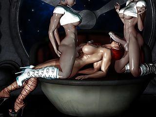 सेक्सी 3 डी कला - 2 किन्नर एक लड़की बकवास (बहुत गर्म)