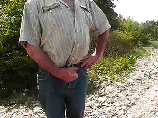 पिताजी जंगल में masturbates