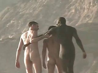 समुद्र तट पर नग्न लोग