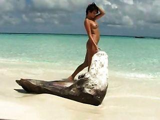 श्यामला लड़कियों की पसंद के समुद्र तट पर उसे मुंडा pussie के साथ खेलता है