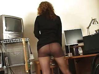 सींग का सचिव काले pantyhose उच्च एकल ऊँची एड़ी के जूते