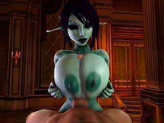 सोरिया एक tittyfuck देता है और सह 3 डी में भीग जाता है