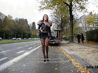 चरम 20cm उच्च ऊँची एड़ी के जूते और स्पैन्डेक्स स्कर्ट में अनन्त वेश्या