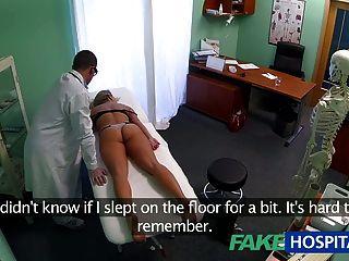 FakeHospital चक्कर युवा गोरा एक creampie लेता है और शुरू होता है