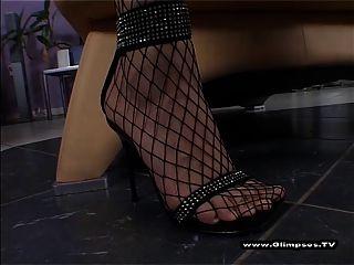 छोटे स्तन miniskirt और fishnets