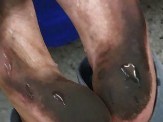 गंदे पैर Footjob
