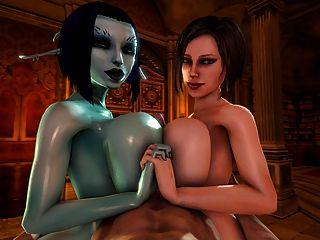 सोरिया और Trishka डबल tittyfuck (3 डी)
