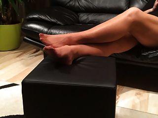 mystepmom लंबे नायलॉन मोजा footplay