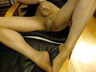 पुरुष सनटैन pantyhose पहनने