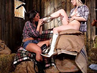 दो खलिहान पर मज़ा आ रहा cowgirls