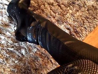 जूली Skyhigh चमड़े गधा और Lorenzi जूते ऊँची एड़ी
