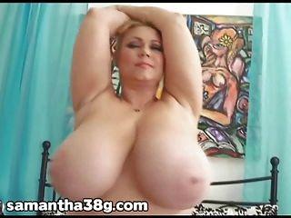 बीबीडब्ल्यू सामन्था 38g उसके विशाल प्राकृतिक स्तन और गधा हिलाता