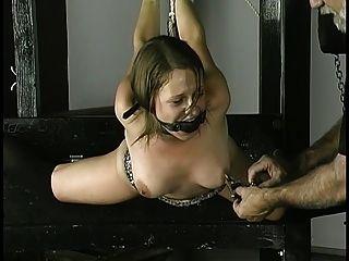 गुलाम रस्सी के आसपास उसके मुँह में निपल्स clamped और गेंद को धोखा कलाई हो जाता है