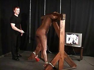 काली लड़की बाध्य और caned