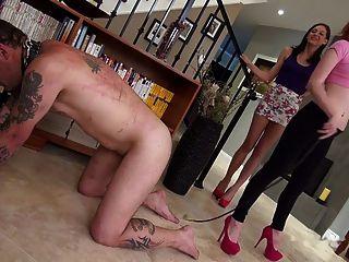 दो युवा mistresses सजा से गुलाम तोड़ने