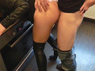 रसोई घर में चमड़े सेक्स