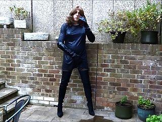 एलिसन उसकी नई लाइक्रा जांघ जूते में wanking thighbootboy