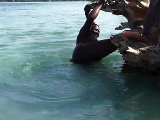 समुद्र तट पर आबनूस