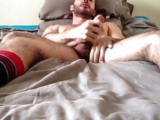 Str8 आदमी स्ट्रोक और बिस्तर पर Cun