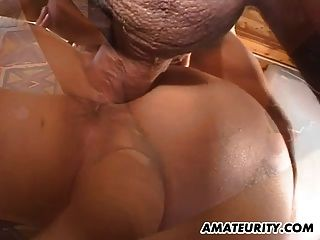 बड़े स्तन के साथ शौकिया प्रेमिका बेकार है और सह के साथ fucks