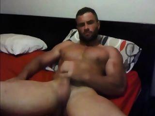 str8 मांसपेशी डैडी झटके और cums