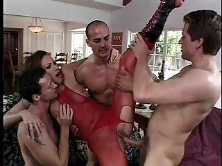 धोखाधड़ी पत्नी मैंडी डबल लाल bodystocking में प्रवेश कर