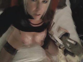 वेब कैमरा पर संभोग तक गोरा सवारी dildo