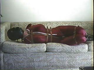 एक सोफे पर ड्रेस अप बाध्य