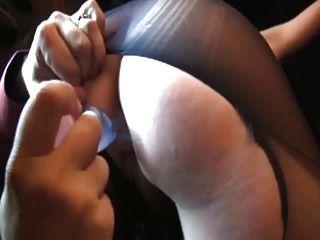 पॉला, फ्रेंच परिपक्व गड़बड़ में फट pantyhose