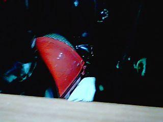 जांघ उच्च जूते लाल और शरीर पीवीसी काला ...