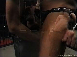दो नवागंतुक पुरुष सेक्स कालकोठरी के लिए निर्दयतापूर्वक गड़बड़ हो जाते हैं