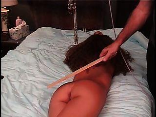 मास्टर दंड गुलाम एक क्लैंप और रस्सी के साथ बिल्ली को दर्द देने के लिए खींच