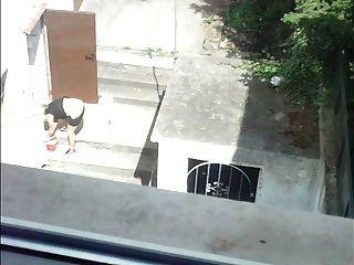 खिड़की से परिपक्व महिला 2 तक मरोड़ते