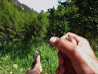 घास में wanking और cuming