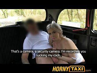 hornytaxi गर्म गोरा पर्यटक पहली बार blowjob में
