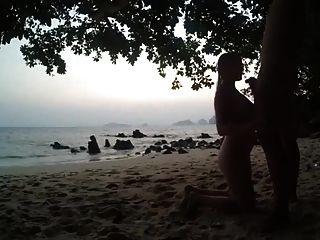 समुद्र तट पर डिक चूसने