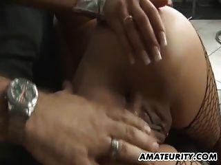 गधा पर सह के साथ busty शौकिया किशोर प्रेमिका गुदा मैथुन